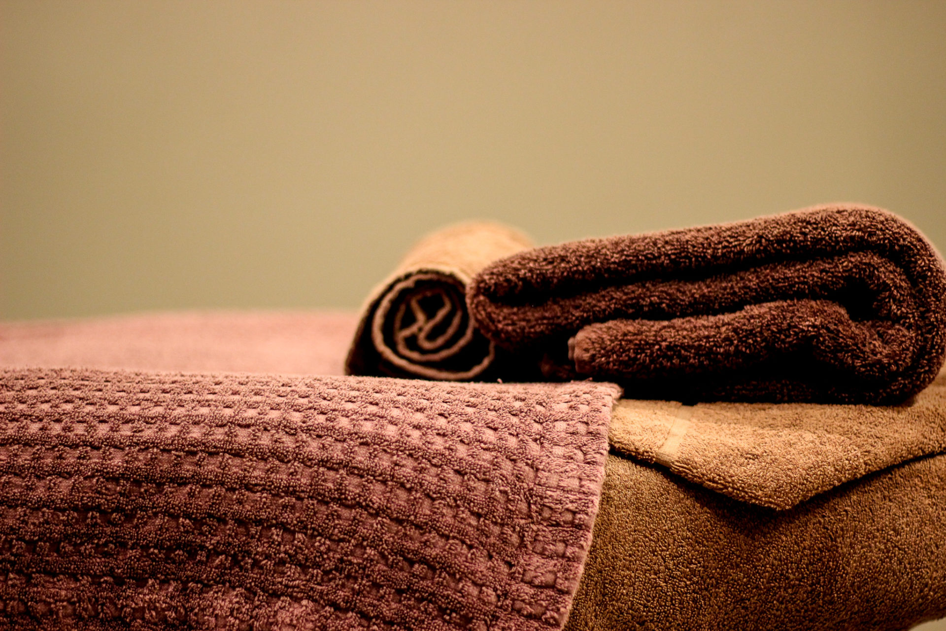 Towels in spa bed