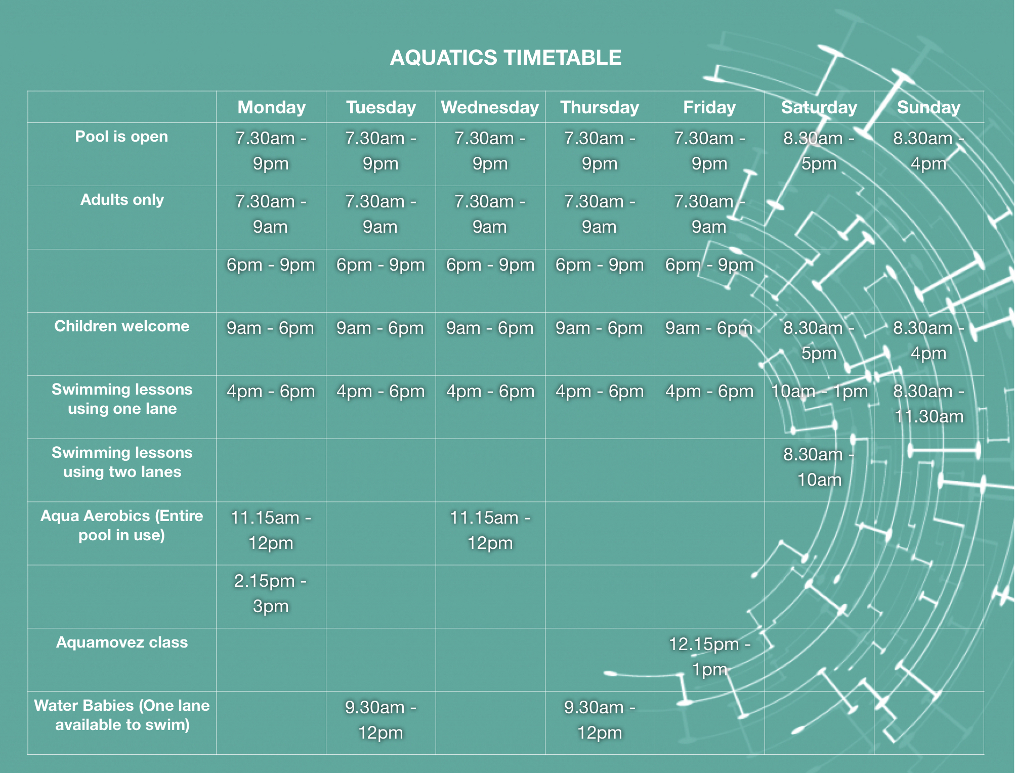 Swimming timetable